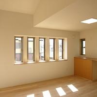 高い天井と造付け家具のおかげで開放的な印象を受ける2階リビングの画像